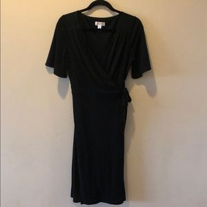 Anne Taylor Loft Black Jersey Wrap Dress Sz. 6